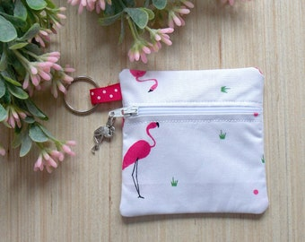 Flamingo Ear Bud Case - Ear Bud Holder - Earphone Case - Flamingo Coin Purse - Music Lover Gift