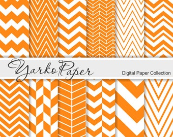 Orange Chevron Digital Paper Pack, Chevron Scrapbook Paper, Digital Background, 12 Sheets, Personal And Commercial Use - Instant Download