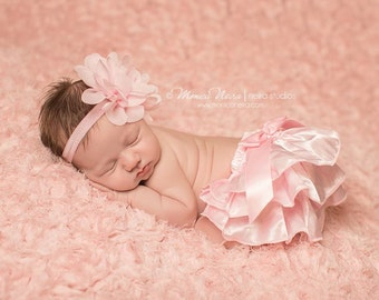 Pink Satin Bloomers and Headband, Baby Bloomers, Bloomer Set, Newborn Photo Prop, Baby Girl Prop