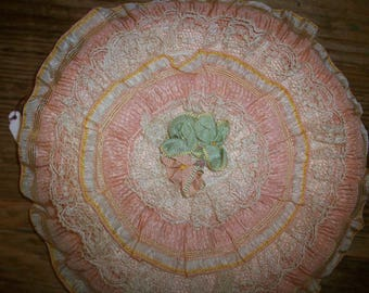 Boudoir silk ribbon work case/keeper hanky/lingerie