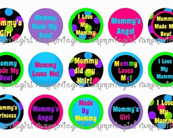 INSTANT DOWNLOAD...Mommy Did My Hair 1 Inch Circle Image Collage for Bottle Caps...Buy 3 get 1