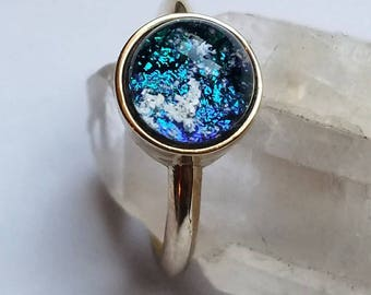 Ashes InFused Glass NEW Small 14K Yellow Gold Size 6,7,8 Cremation Jewelry Ring Pet Memorial