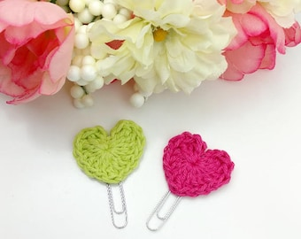 Bright Green and Pink Crochet Heart  Planner Paperclip Bookmark Clip Set of 2     [103]