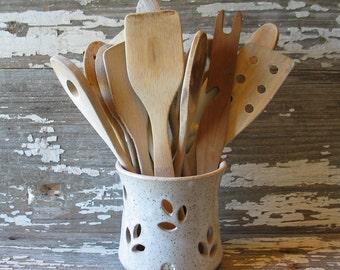 "Pottery Utensil Pot - Wooden Spoon Holder - Handmade Pottery - Pillar Candle Holder - Rustic Farmhouse White - MEDIUM 5x5"""