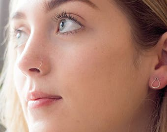 ROSE GOLD Very thin False Nose ring, Fake Nose ring Hypoallergenic, Tragus Piercing, Cartilage Ring, Septum Ring, Piercing, Hoop