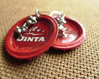 EARTH AND WIND -- Red Unita Brewing Co. Bottle Caps with Silver Dog Charms