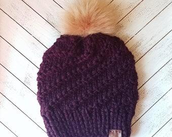 READY TO SHIP Eggplant purple knit beanie with beige faux fur pom pom, purple knit hat, knit beanie, knit hat, beanie, hat