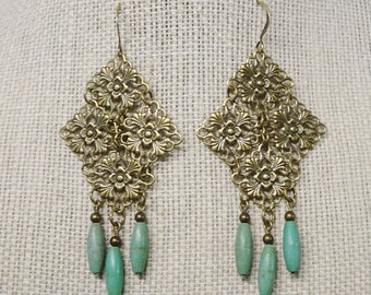 Antique Brass and Aqua Green Bead Filigree Earrings, Boho, Long Earrings, Turquoise Earrings, Antique Brass Earrings, Chandelier Earrings