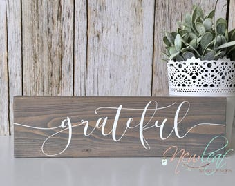 Grateful - Grateful Sign - Give Thanks - Gratitude - Thank you - Wedding Gift - Grateful Hearts - Housewarming Gift