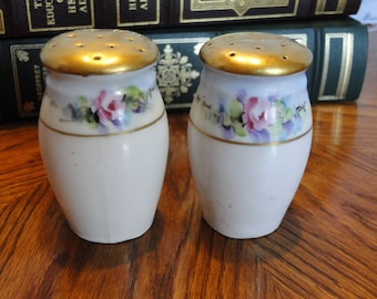 Vintage Floral Salt & Pepper Shakers, Gold Top, Pink Flower Seasoning Dispenser, Collectible Salt and Pepper Containers