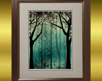 Trees and Dragonflies Fantasy Art Print --  Digital Painting - 8 x 10 -- Guardians of Everlast