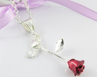 Delicate 3D Single Red Rose Charm Necklace with Tiny Heart Dangle SP 75cm