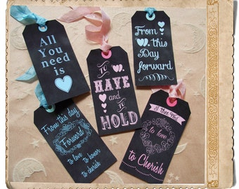 Chalkboard wedding tags instant download