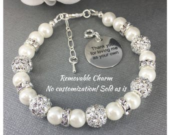 Thank you for loving me as your own Gift for Stepmom Mother in Law Gift Godmother Gift Thank you Gift Charm Bracelet Wedding Jewelry