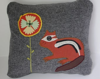 """Grey Pillow with Chipmunk 12x12"""""""
