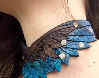Wing Choker Hand Tooled Leather Necklace