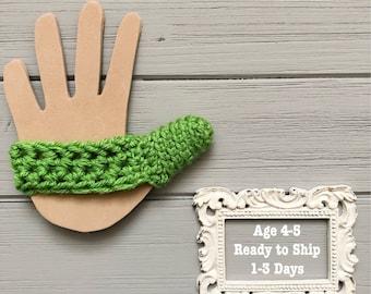 Kids Thumb Guard - Age 4-5 - Stop Thumb Sucking - Ready to Ship - Green - ThumbSnuggler - Crochet Thumb Cover