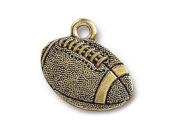2 TierraCast Football 11/16 inch ( 18 mm ) Gold Plated Pewter Charms Pendants