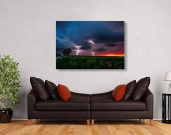 Storm Metal Print, Lightning Metal Art, Photos on Aluminum, Metal Photography, Oklahoma Metal Art, Fireflies Artwork, Lightning Wall Decor