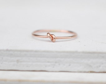14 k  rose gold ring knot ring