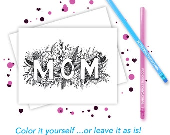 Mothers Day Card -  Hand Illustrated Card - Mothers Day  - Greeting Card