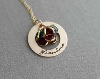 Hand Stamped Bronze Grandma Washer Necklace,  14k Gold filled chain Personalized with Swarovski  Birthstones, Grandchildren, Grandmother