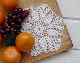 Small crochet doily White lace doilies Small cotton crochet doilies Small doily Small lace doily 366