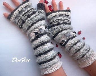 Women L 20% OFF Bohemian Fingerless Boho Mittens Ready To Ship Cabled Gloves Hand Knitted Striped Accessories Gift Wrist Warmers Winter 875