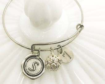 Custom Initial Bangle - Wax Seal Jewelry - Lucky number bangle bracelet