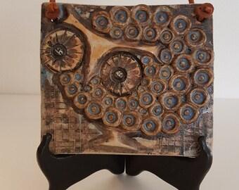 Winblad stoneware plaque fantasy bird / owl. Midcentury Alingsas Keramik Sweden