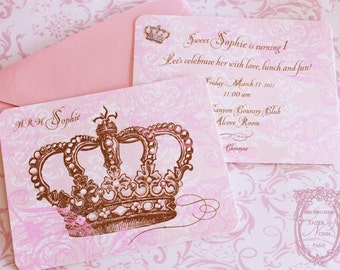 Pink  Princess Crown Invitations Set of 6 with Shimmering Pink Envelopes  As Seen In Romantic Country Magazine