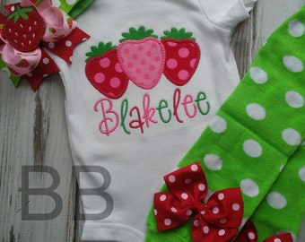 First Birthday Outfit, Strawberry Birthday Outfit, I'm One Birthday Outfit,Red and Pink, Bodysuit, Leg Warmers, OTT Hair Bow
