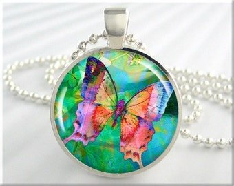 Rainbow Butterfly Pendant, Resin Charm, Butterfly Art Necklace, Green Accessory, Gift Under 20, Resin Picture Jewelry, Round Silver 272RS