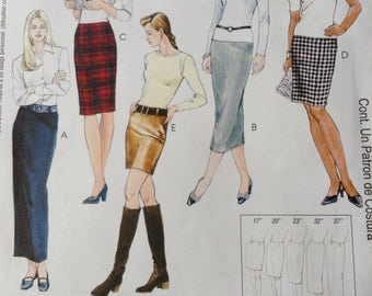McCall's Quick & Easy Sewing Pattern 3830 / UNCUT / Misses skirt in Five Lengths / Sizes 12-14-16-18