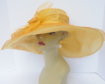 """New Kentucky Derby, Church, Wedding, Tea Party with Two Big Flower 4 Layers 7"""" Wide Brim Organza Hat Gold"""