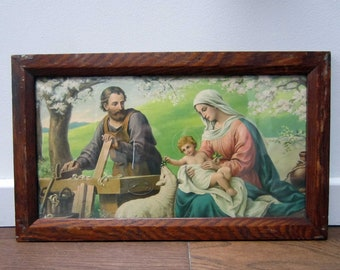 JESUS child Joseph & Marie⎮French vintage framed religious illustration⎮Christian collectible