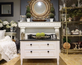 White Shabby Chic w/ Black Stain Coffee Table