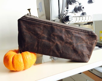 Waxed canvas pouch - waxed canvas bag, brown travel pouch, zipper pouch, christmas gift pouch