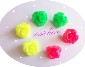 Flower cold porcelain (set of 6) Designer beads
