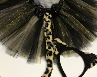 Leopard cat tutu costume, black gold cat costume, halloween costume, leopard tutu, leopard costume, baby costume, adult costume, cosplay