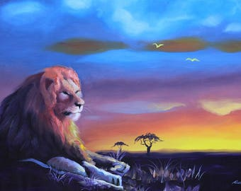 Africa LION wildlife animal 24x36 (61 x 91 cm) oils on canvas by RUSTY RUST / L-186