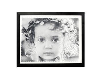Black and White engraved portrait with Dotted/haft tone effect-12'X15'