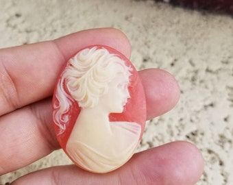 Old  Cameo cabochon  womens hair is up, Great for altered art, jewelry making Etc.