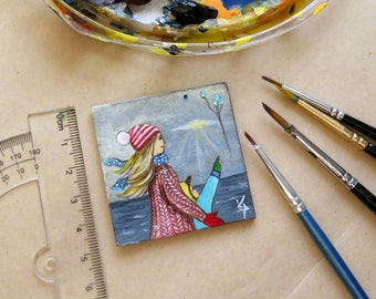 Miniature Painting Collectible Tiny Unframed Miniature, Acrylic Original Painting, Dollhouse Miniature, Mother and Son, Colorful Miniature