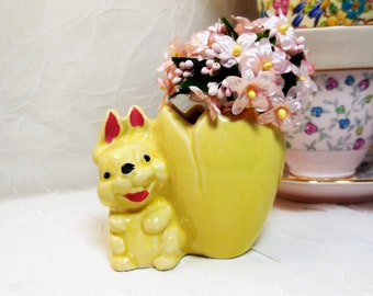 Fanny Farmer, Bunny Candy Holder, McCoy, Egg Cup, Mini Planter Vase, Vintage Ceramic