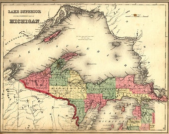 Map of the Upper Peninsula, Michigan MI, 1873.  Restoration Hardware Home Deco Style Old Wall Vintage Reprint.