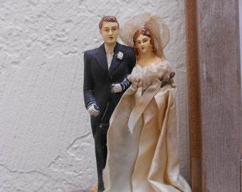 Victorian Wedding Cake Topper 1800s Elegant Bride & Groom Beautiful Chalkware/ Bisque Antique Elegance