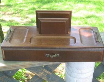 Vintage Wood Jewelry Valet Box Man's Jewelry Box Dresser Organizer