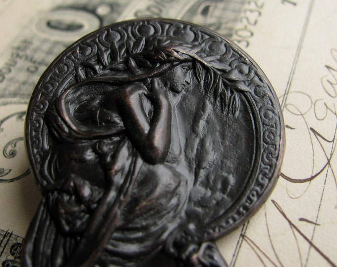 """Art Nouveau Mucha ornament  """"Poetry"""" antiqued brass stamping, aged black patina, 45mm, 1 3/4 inches Harvest Maiden OR-FF-017"""