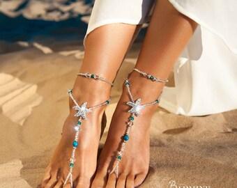 Beach wedding barefoot sandals Bridal foot jewelry Rhinestone starfish barefoot sandals Barefoot Sandals Bridal shoes Footless sandals Blue